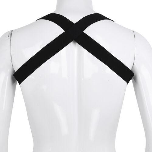Men PU Leather Restrain Chest Strap Harness Buckle Metal Clubwear Gay Costume