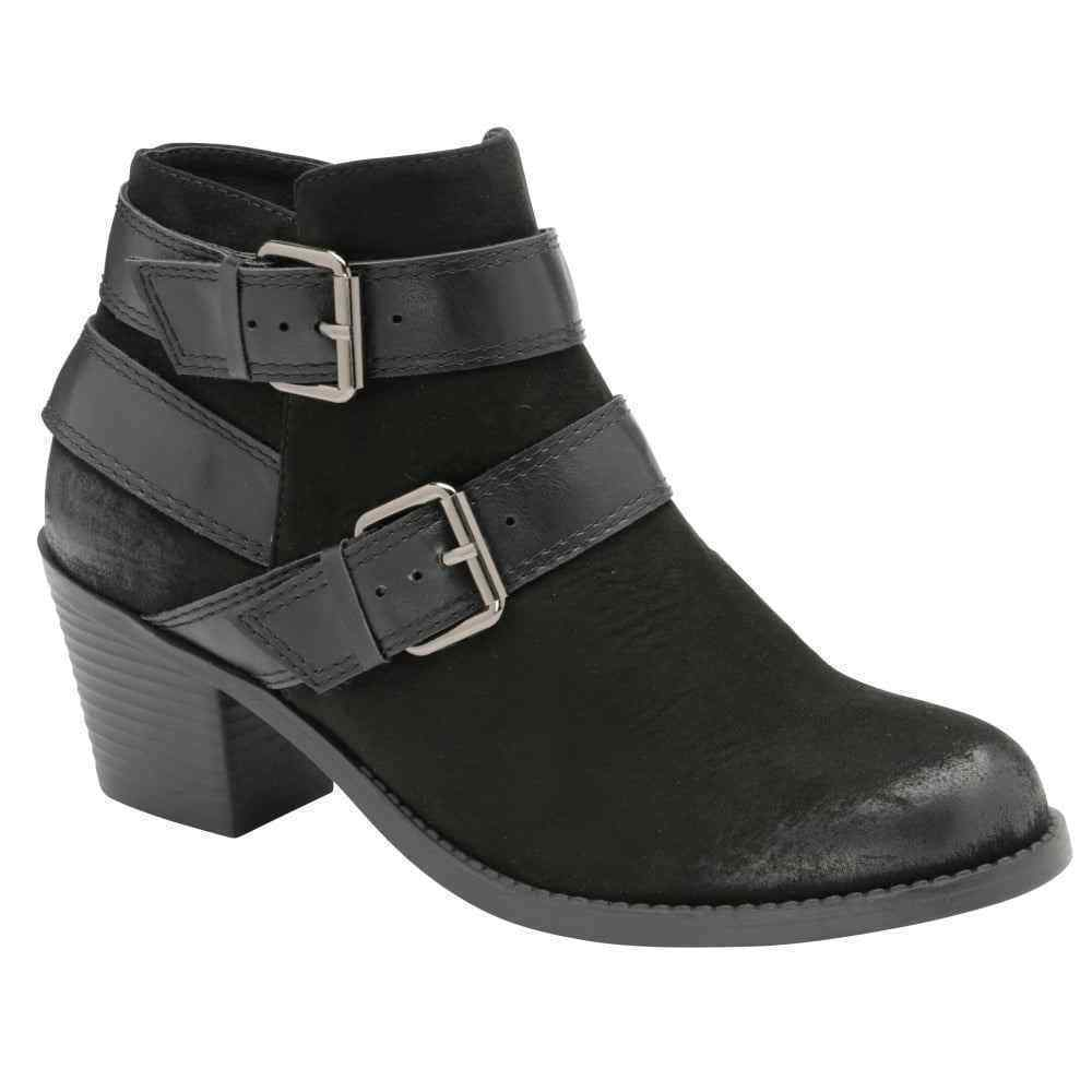 WOMENS DOLCIS QUINCY BLACK MEMORY FOAM BUCKLE STRAP LOW HEEL ANKLE BOOTS