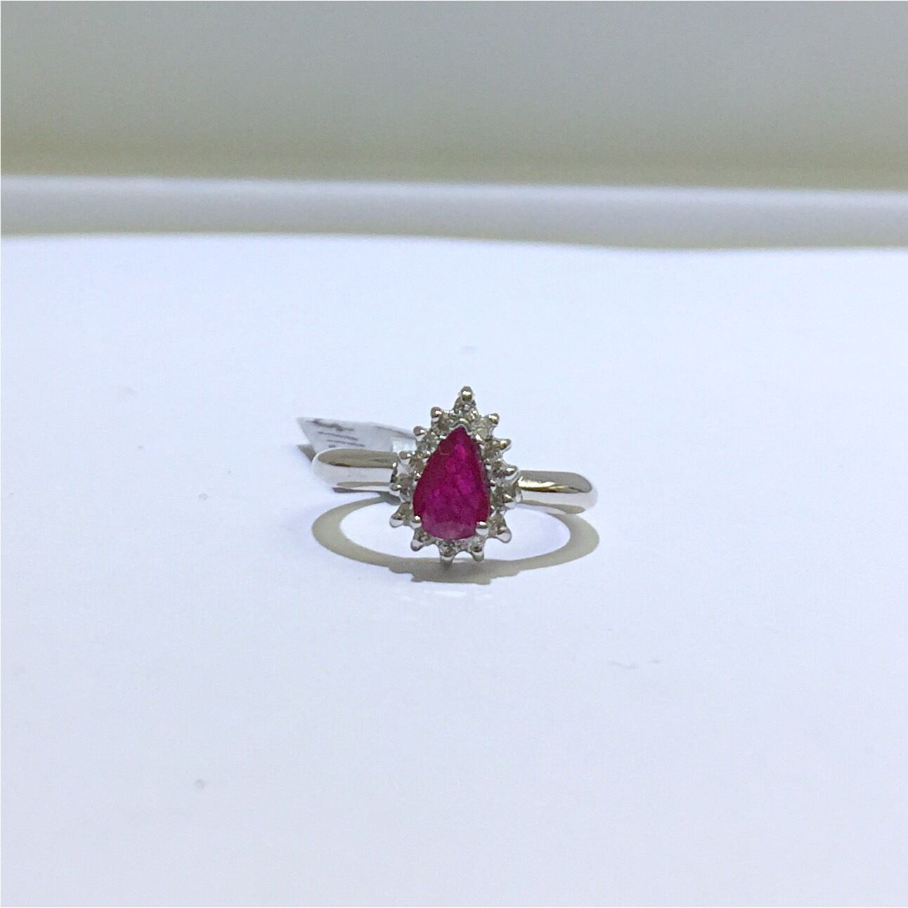 18K White gold genuine Ruby and Diamond Ring. Size 4.5