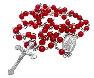 Catholic-Rosary-Necklace-Round-Red-Glass-Crystal-Beads-Miraculous-Medal-amp-Cross
