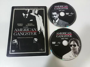 American-Gangster-2-X-DVD-Steelbook-Spagnolo-English-Russel-Crowe-Denzel-Washing