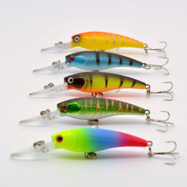 10pcs Minnow Fishing Lures Crank Bait 6# Hooks Bass Crankbait Tackle 9CM//8.3g