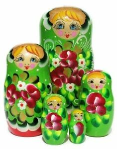 Flora Red Black 5 Piece Babushka Floral Flower Russian Stacking Nesting Toy Doll
