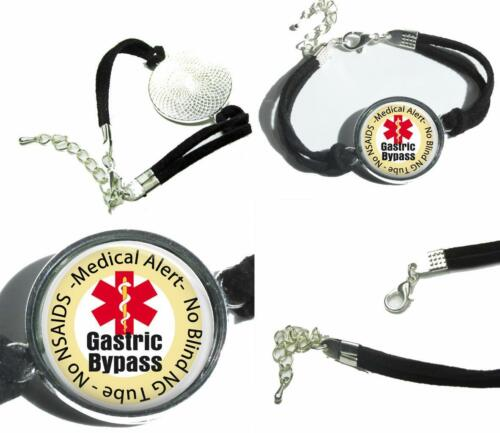 Gastric Bypass Medical Alert Leatherette Cord Bracelet Charm Bariatric Surgery