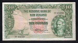 NEW-ZEALAND-P-161c-1967-10-Pounds-Fleming-No-Thread-Prefix-7F-gVF