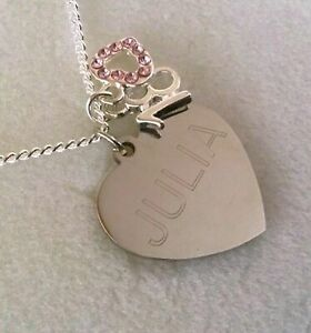 50th Gift UK Personalised Happy Birthday Engraved Heart Necklace 18th 21st