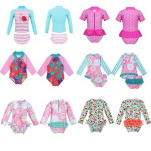 US-Baby-Girls-Tankini-Swimwear-UPF-50-Rash-Guard-Swimsuit-Bathing-Swimming-Suit