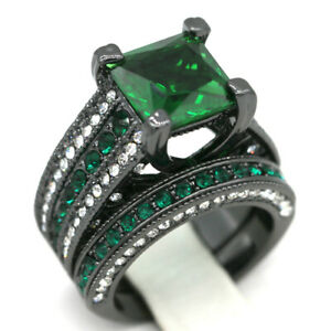 Green and black square ring