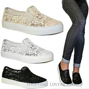 SCARPE-Donna-Sneakers-Slip-on-Pizzo-Zeppa-3-Mocassini-Passeggio-Cod-T75