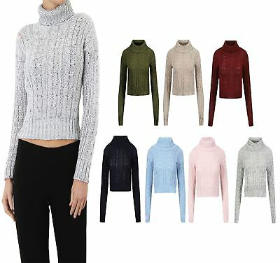 022138cc7ae Womens Polo Turtle Neck Cable Knit Jumper Long Sleeve Ladies Cropped Jumper  Top | eBay
