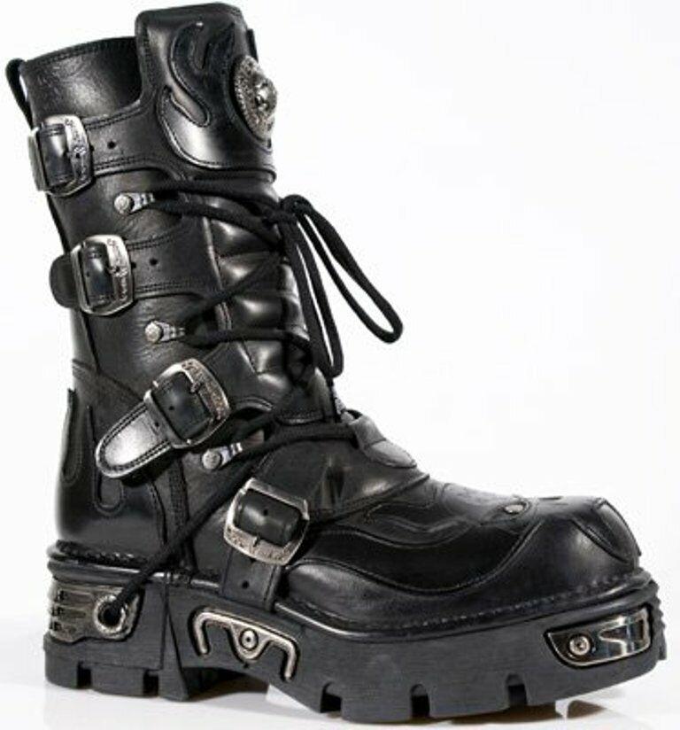 NEWROCK Ladies Leather New Rock 107-S3 Black Skull Devil Goth Emo Biker Boots