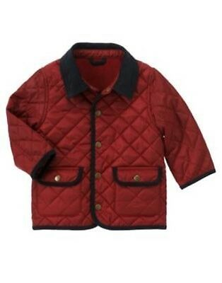 GYMBOREE BARKSIDE ACADEMY RED QUILTED JACKET 6 12 24 2T 3T 4T 5T NWT