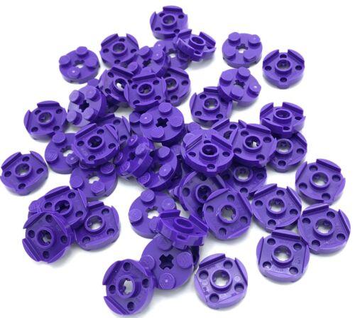 Lego 50 New Dark Purple Plates Round 2 x 2 with Axle Hole Pieces