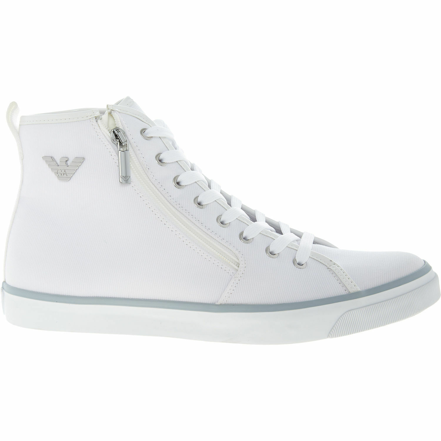 EMPORIO ARMANI Women's  White Canvas High Top Sneakers, size UK 4   EU 37