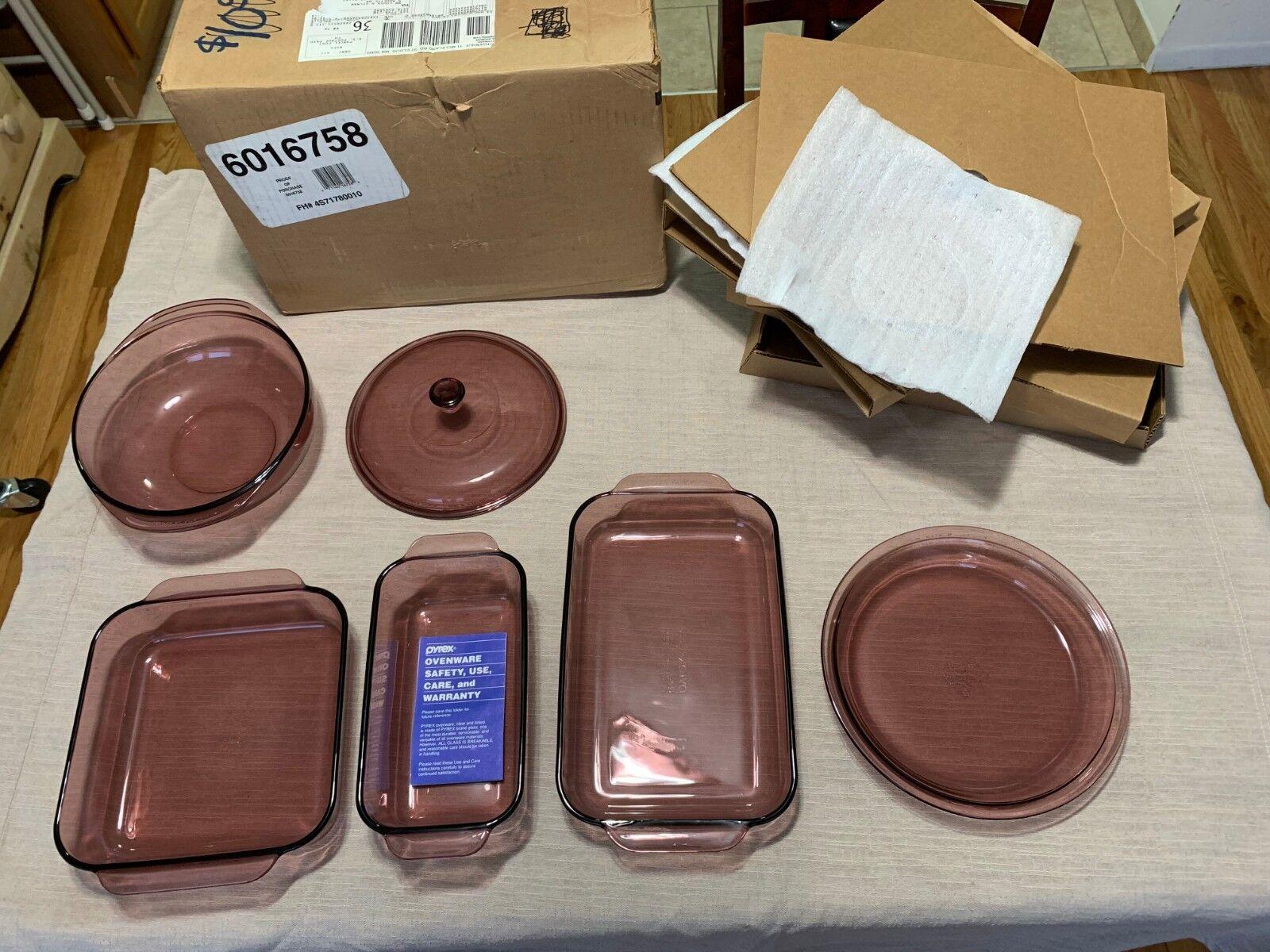 VINTAGE 6 pieces Pyrex Corning Cranberry glass Baking Dish Set Bake-Ware, nouveau