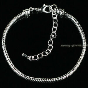 5pcs-10pcs-Silver-Plated-3mm-Snake-Chain-Charm-Bracelets-Fit-European-Beads