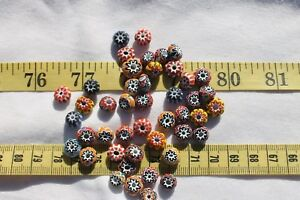 Assorted-Chevron-6mm-10mm-Glass-Rondelle-Beads-25-grams-RS86