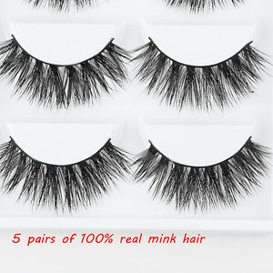 16ce947de9b Image is loading 5Pairs-100-Mink-Natural-Thick-False-Fake-Eyelashes-