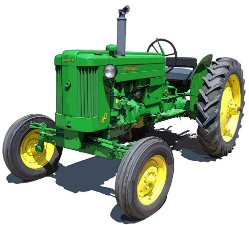 John Deere Model 40 farm tractor canvas art print by Richard Browne