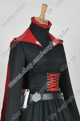RWBY Cosplay Red Trailer Ruby Rose Costume Black Combat Uniform Dress Full Set