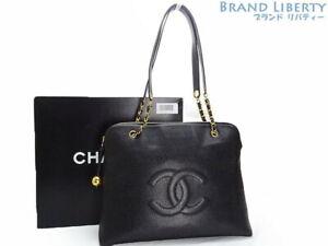 6d353e55f8f Auth CHANEL Vintage CC Logos Caviar Skin Chain Shoulder Tote Bag ...