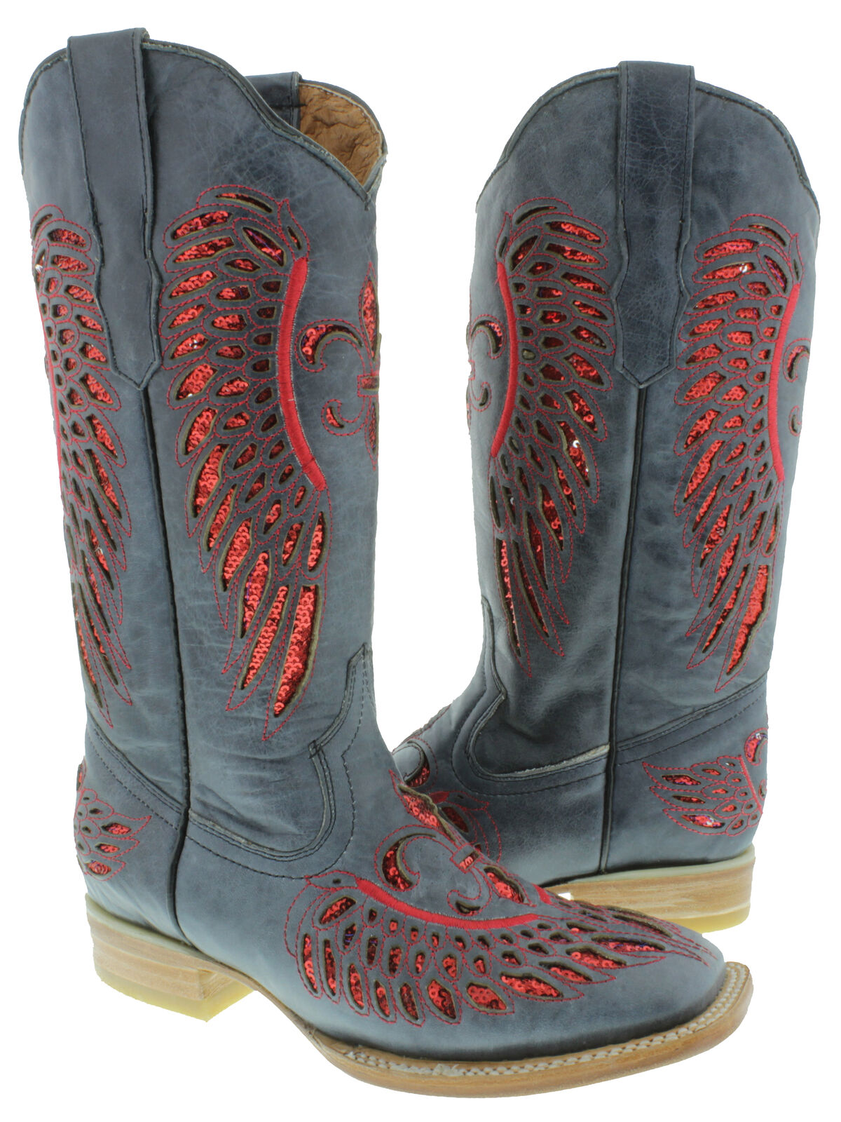 Womens Denim bluee Red Flower Wings Sequins Leather Cowgirl Boots Square Toe