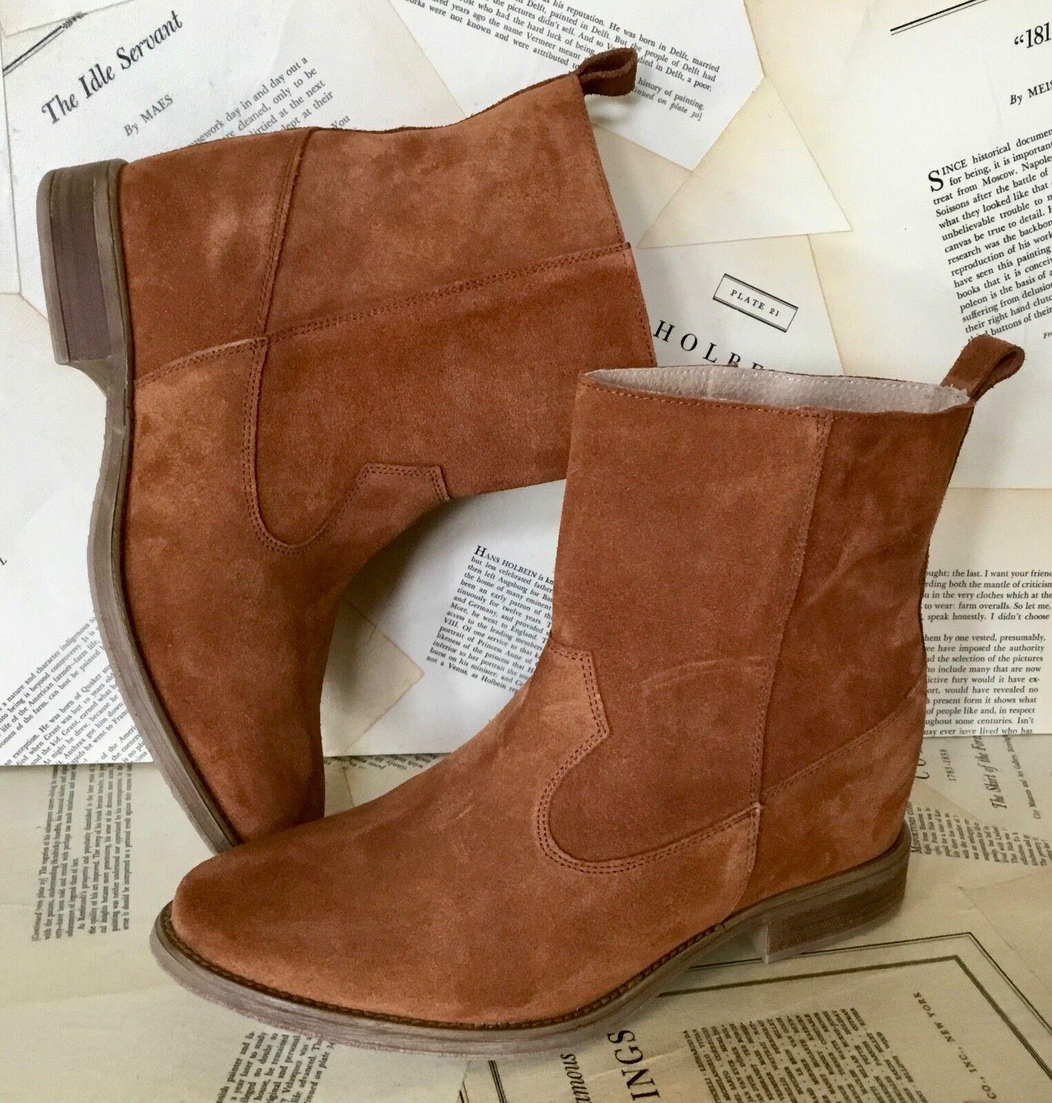 Nuevo anthropologie Gamuza Marrón Tirar moldeada moldeada moldeada suela botas al tobillo Botines 38 7.5-8 0491ea
