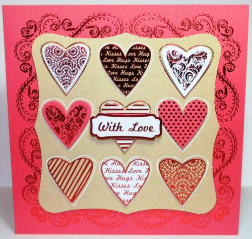 "Saint Valentin 8x8/"" Die Cut DECOUPIS Carte Making Craft Kit Inc Toppers Kanban"