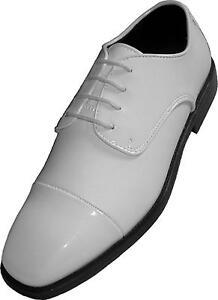 £ 29.99 Para Hombre Nuevo Blanco Patente Vestido De Novia Elegante Fiesta Noche Crucero Calzado Zapatos
