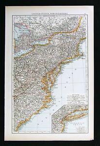Pennsylvania Virginia Map.1896 Times Map United States New York Pennsylvania Virginia