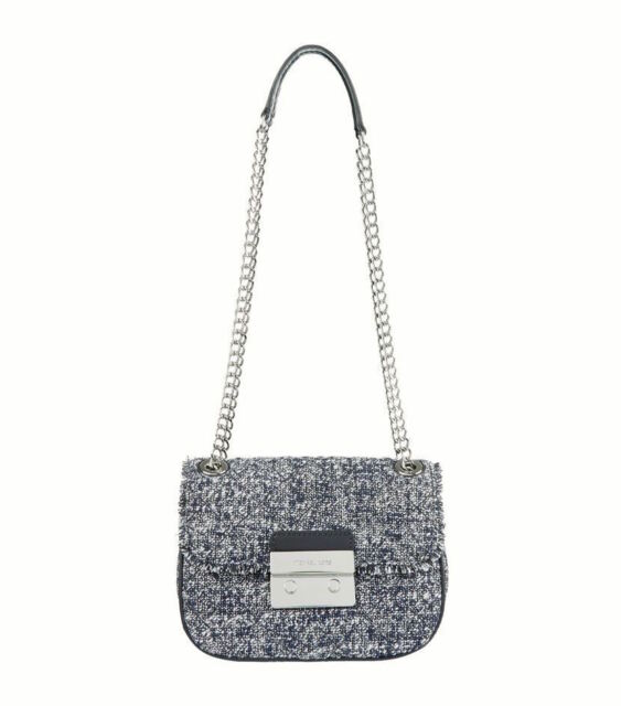 b07f0ea796b2 Michael Kors Sloan Admiral Quilted Small Tweed Shoulder Bag for sale ...