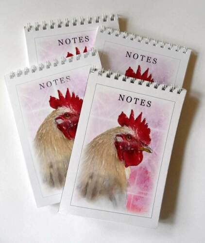 Chicken White Cockerel Image Pack of 4 A6 Note pads Gift set