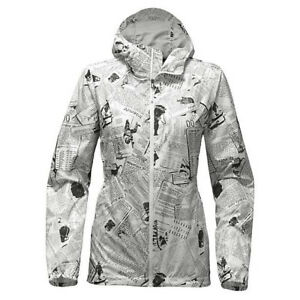 d6f4a644b Details about THE NORTH FACE Women Jacket Flyweight Hoodie White Collage  Windbreaker Newspaper