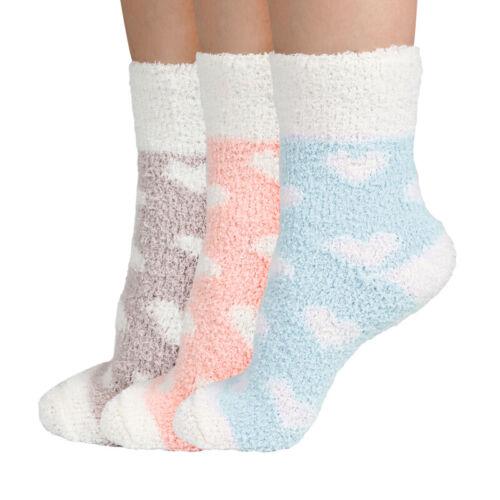 3 Pairs Women Plush Fuzzy Coral Fleece Soft Socks Floor Slippers Indoor US 6-10