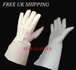 NEW REAL LEATHER PIPER DRUMMER LEATHER GAUNTLETS / GLOVES SIZE S,M,L,XL