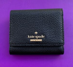 KATE-SPADE-JACKSON-STREET-JADA-PEBBLED-LEATHER-MINI-WALLET-NEW-Black