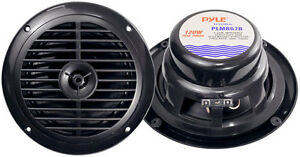 Pyle-PLMR67B-Black-Pair-New-6-5-034-120Watt-Marine-Car-Boat-Waterproof-Speakers