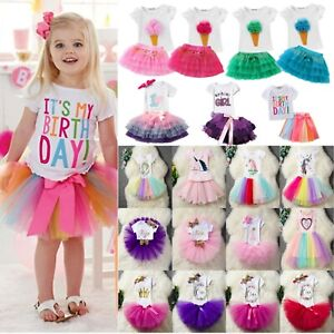 862b08ac9a0d Toddler Baby Girl Birthday Dressy T-Shirt Tulle Tutu Skirt Outfit ...