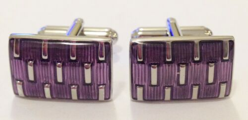 #1056 NOVELTY PURPLE SILVER STRIPE STYLISH MENS DRESS CUFF LINKS CUFFLINKS