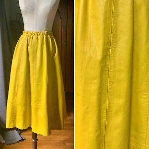 Vintage 1970's SIENA New York Mustard Leather HALSTON ERA Skirt SMALL