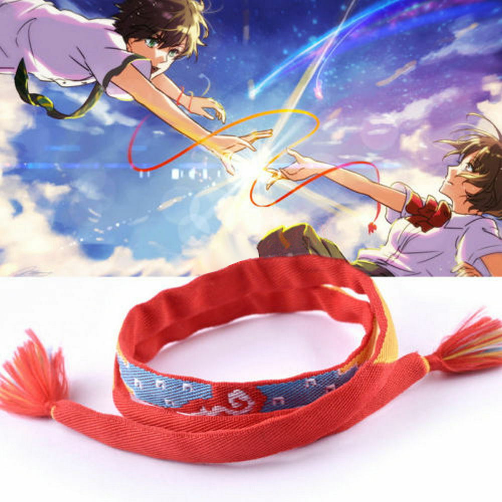 Anime Your Name Kimi no Na wa Miyamizu Mitsuha Lover Bracelet Fabric Rope Chain