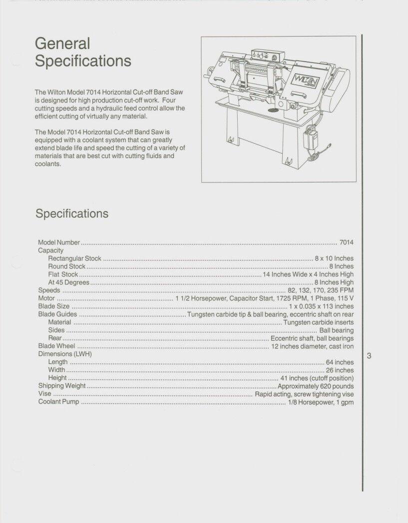 Wilton Model 7014 Horizontal Band Saw Operator Parts List 331 Ebay Vise Diagram Norton Secured Powered By Verisign