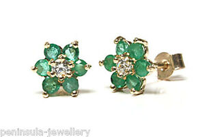9ct Gold Emerald cluster stud earrings OIJmB