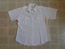 Vtg FLYING CROSS Uniform T-SHIRT XL Button-Up/Down SS White Poly/Cotton 70s/80s