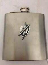 Artists Palette R109 English Pewter Emblem on a 6oz Stainless Steel Hip Flask