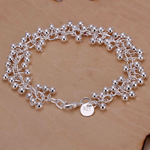 Silver Plated Balls Bracelet Bangle.925 Sterling  7.75 inches 19.5 cm Long