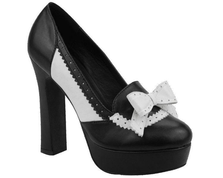 T.U.K A8676L Black White Brogue Bow Loafers Platform Heel