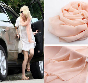 Women-039-s-Fashion-Pink-Georgette-Chiffon-Soft-long-Beach-Scarf-Shawl-Wraps