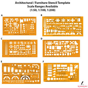 Image Is Loading Architectural Template Stencil Bathroom Kitchen Furniture Layout Architect