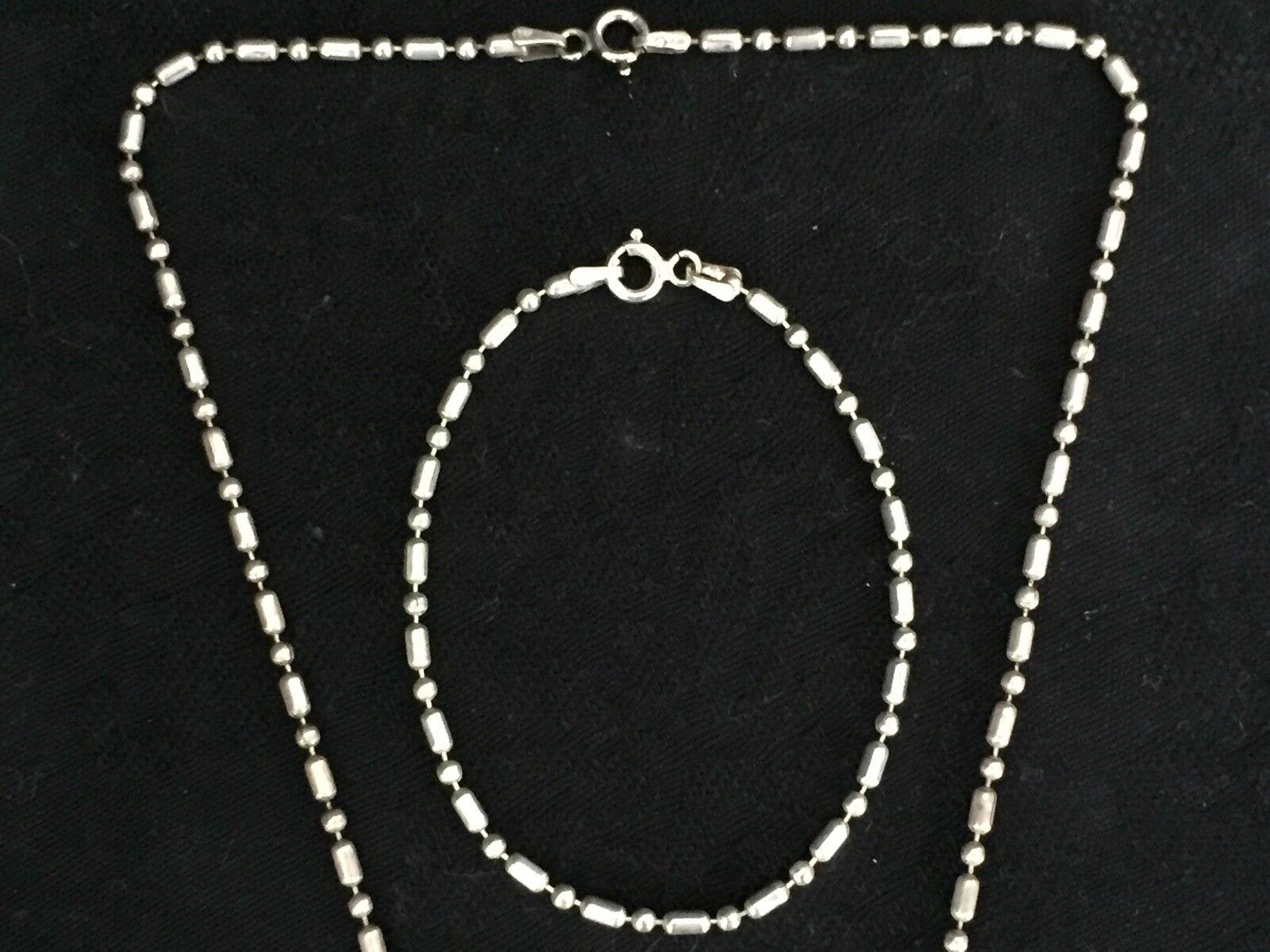 COLLIER ET BRACELET BRACELET BRACELET EN argento 49 5 GRAMMES AVEC NACRE MAILLE GRAIN  E82 55728c